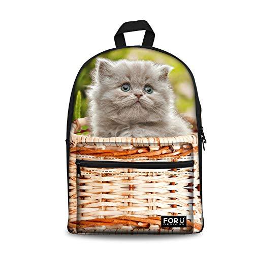 Adorable Basket Kitten Print Kids Travel Backpack Teen School Bookbag -  Cat-CA4954 -  Medium