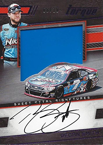 REGAN SMITH 2017 Panini Torque Racing SHEET METAL SIGNATURES AUTOGRAPH (Race-Used Blue Metal) Insert Collectible NASCAR Trading Card #08/10
