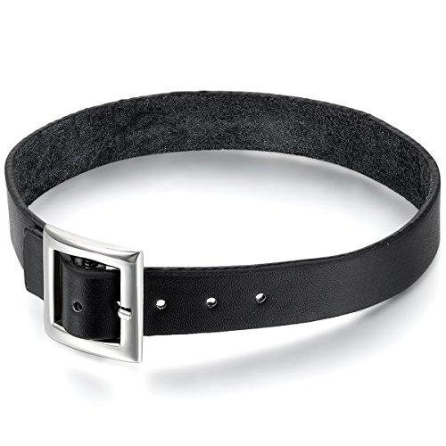OIDEA Collana Collare in Pelle per Uomo Donna Fibbia della Cintura Nero