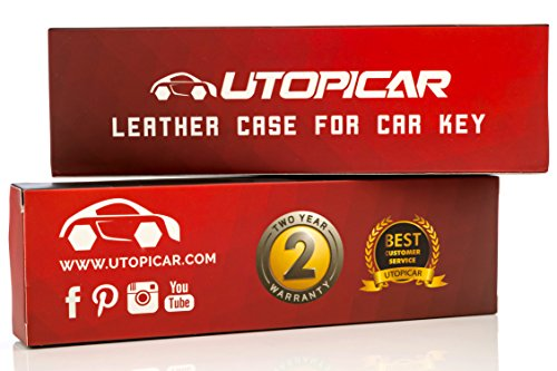 Utopicar Key fob case for Tesla Model S - Car Key Sleeve Engineered for Perfect snug fit. [Genuine Leather] [Handmade] (Black)