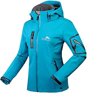 Women's Anorak Jacket Hooded Zipper Warm Jacket Windproof Waterproof Outdoor Jacket Coat Breathable Quick-Drying Softshell Jacket