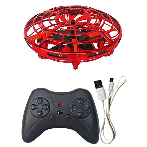 Mini dron operado a mano, mini control remoto volador, inducción infrarroja interior pequeño ovni bola voladora juguetes con 360 ° giratorio y luces LED brillantes
