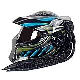 AIAIⓇ Predator Motorcycle Helmet Personality, Casco de motocicleta todoterreno para hombres Certificación DOT, Decoración de lentes anti-ultravioleta Trenza sucia, Casco de protección, Negro azul, L