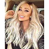 Long Wavy Ombre Ash Platinum Blonde Lace Front Wigs For Women Middle Part Blonde Ombre Long Wavy Synthetic Wigs With Green Roots Soft Lace Blonde Mix Platinum Hair Replacement Wig 22 Inches