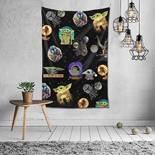 XUSHEJA S-T-A-R War Cute Baby Mandal-orian Wall Yoda Tapisserie Durable Fashion Personalized Design Cozy Party Supplies Picknick Tuch Tagesdecke für Zuhause 101,6 x 152,4 cm