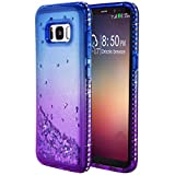 Galaxy S8 Glitter Back Case, Galaxy S8 Glitter Sparkly Cover, Women Girls Gradient Bling Diamond Glitter Liquid Quicksand Waterfall Floating Sparkle Soft Case Compatible with Samsung Galaxy S8 SM-G950