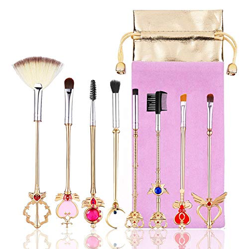 8pcs Sailor Moon Pinceau De Maquillage Kit Brosses À Poils Doux Maquillage Fond De Teint Poudre Fard À Joues Blending Pinceau Magique Cosmétique Outil De Maquillage Avec Pink Pouch