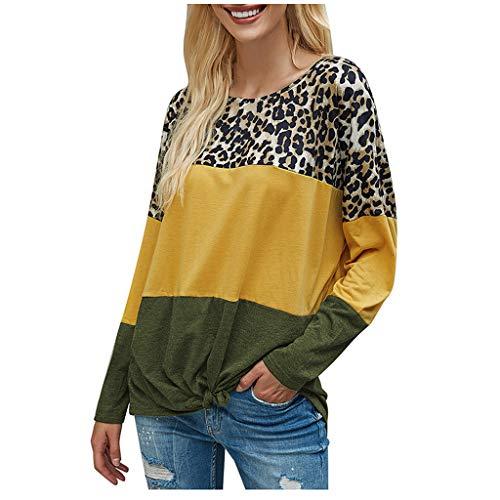 Damen Leopardenmuster Spleiß Langarm Blusen Kleidung Beiläufig Streetwear Tops