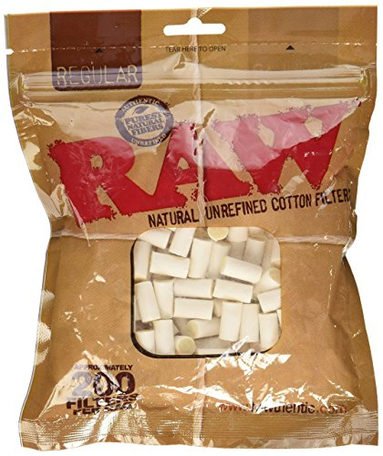 Raw Regular Natural Unrefined Cotton Filter Tips, 8 mm, Pack of 200