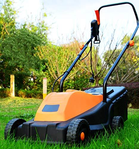 Ouumeis Elektrischer Rasenmäher, Einstellbar 3-Gang 1300W Elektrische Rasenmäher Schnittbreite 32 cm Schnitthöhe 55 Mm Handschubmäher Grassammelkapazität 40 Liter