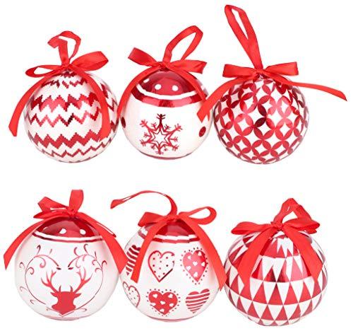 TOYLAND Paquete de 6 - Adornos de árbol de Navidad Decorados con Espuma de Polietileno Rojo y Blanco metálico de 80 mm