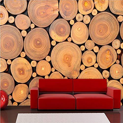Pbbzl Fotobehang voor muurschilderingen, 3D, personaliseerbaar met 3D-ringen voor de geboorte, van hout, geen stof ter decoratie van wandafbeeldingen 280x200cm