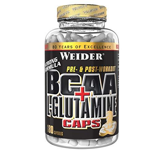 WEIDER BCAA + Glutamin Aminosäuren für Fitness, Bodybuilding u. Krafttraining, 180 Kapseln