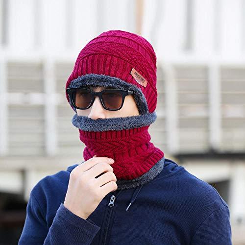 Thermische Hoed Sjaal Set Gebreide Warm Set voor Outdoor Sport in Winter Herfst en Winter Heren Gebreide Hoed Plus Fluwelen Dikke Hoed Kraag Warme Dames Wollen Hoed Koude Cover