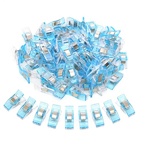 200 Pcs Sewing Clips for Quilting, Multipurpose Sewing Clips, Quilting Clips for Fabric, Wonder Clips for Sewing Supplies, Quilting Accessories, Crafts, Fabric (White and Blue)