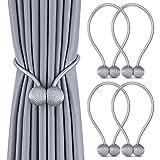 Vegco – Juego de 4 alzapaños de cortina, imantados, trenzado, magnéticos, para decoración de oficina, casa, casa, color gris (gris)