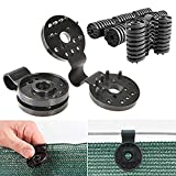nuaele 50PCS Shade Cloth Clips, Gardening Round-Shape Clips Instant Plastic Grommet for Anchoring Shade Cloth and Landscape Fabric, Black