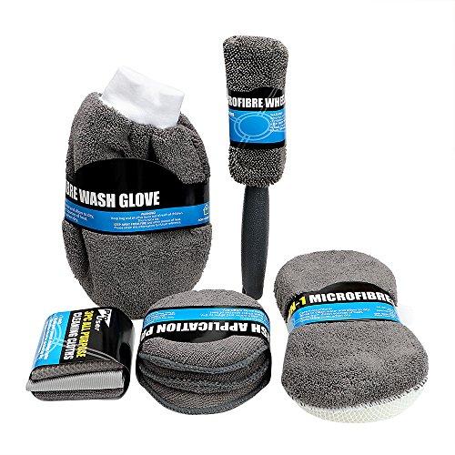 NOPNOG Kits de nettoyage de voiture à laver éponge Gants de roue Brosse Outil de polissage Chiffon de nettoyage en microfibre