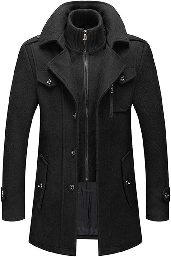 Men's Wool Coat Solid Color Cold Resistant Men Woolen Overcoat Double Collar Casual Trench Coat