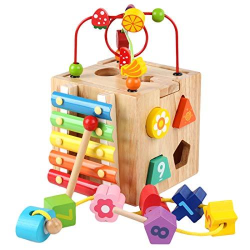 Touchmark Motorikwürfel aus Holz, Kinder Mathe Spielzeug Holzspielzeug mit Motorikschleife, Xylophon, Hammerspiel, Lernuhr, Lernspielzeugs für Kinder ab 12 Monaten