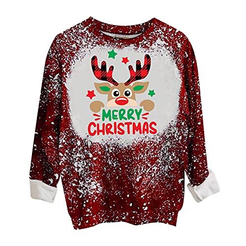 Honestyi Christmas Sweater Woman Navidad Jersey Mujer Manga Larga Con Estampado de Alces Sudaderas Casual Sin Capucha Pullover Sueltos De Cuello Redondo Ropa Harajuku Mujer