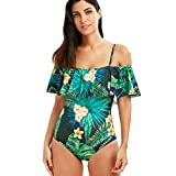 heekpek Trajes de Baña Bikini Mujer Siamés Honda Bañador de Colores Playa de Verano Sexy con Almohadilla para el Pecho Bikini Traje de Baño con Hombros Descubiertos y Volantes