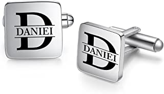 ROSI Personalized Name Cufflink for Men,Customize Wedding Cufflink,Initial Letter Name Shirts Cufflinks Gifts for Men,Birt...