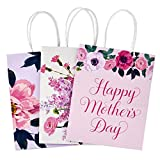 Hallmark 9' Medium Gift Bags Assortment (Pack of 3: Pink, Purple, White, Floral) for Mother's Day, Birthdays, Weddings, Bridal Showers or Any Occasion