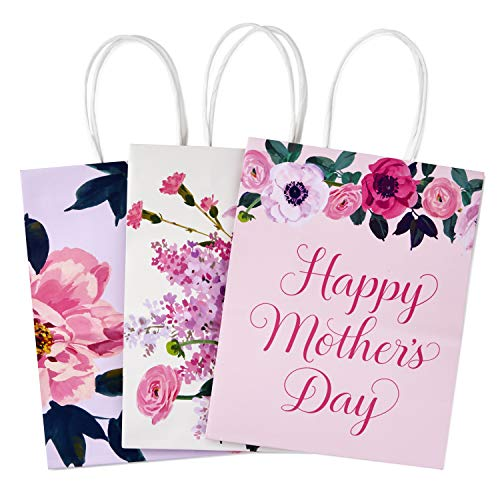 Hallmark 9' Medium Gift Bags Assortment (Pack of 3: Pink, Purple, White, Floral) for Mother's Day,...