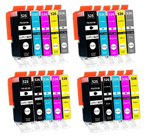 20 Cartuchos de Tinta con viruta Compatible con Canon Pixma PGI-525 CLI-526 para Pixma MG-6150 MG-6200 MG-6250 MG-8150 MG-8200 MG-8240 MG-8250