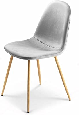 Velvet Eames Dining Chairs DSW Kitchen Chairs Ergonomic Restaurant Chair with Metal Legs Set of 2 Grey