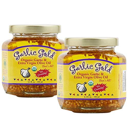 Garlic Gold Organic Garlic Granules in Extra Virgin Olive Oil, 6.4 oz Pack of 2