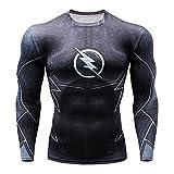 SPIDERMANHTT Camisa de compresión 3D apretada manga larga camiseta, camisa de deporte de entrenamiento de la aptitud Impresión 3D Spandex Lycra (Color : Black, Size : XXXL)