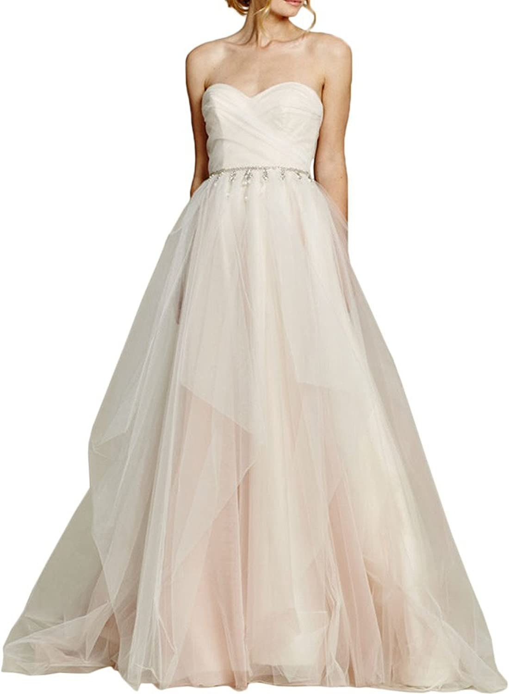 MILANO BRIDE Elegant Ball Gown Strapless Rhinestones Wedding Dress For Bride