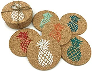 Colorful Pineapple Beach Bar Cork Coaster Set, 6