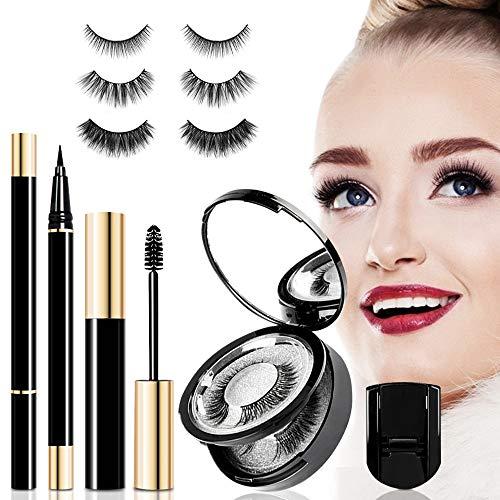 Ciglia Finte Magnetiche con Eyeliner e Mascara Magnetico Eyeliner, 3D Magnetico Ciglia Riutilizzabili Reusable Impermeabile e Pinzetta (3 Paia)