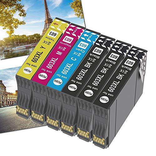OGOUGUAN 603XL Cartucce Sostituzione per Epson 603 XL Cartucce, Compatibile per Epson Expression Home XP-2100 XP-4100 XP-3100 XP-2105 XP-3105 XP-4105, WorkForce WF-2830 WF-2850 WF-2810 WF-2835(6pcs)
