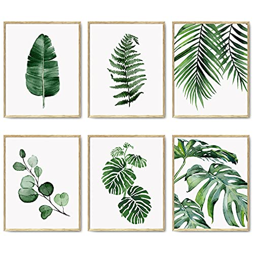 "Green Botanical Wall Art Print Set of 6 Natural Plant Leaves Home Decor Boho Leaf Bathroom Wall Art Canvas Plant Posters Leaf Art Prints Poster Set Room Decor(8""x10"" UNFRAMED)"