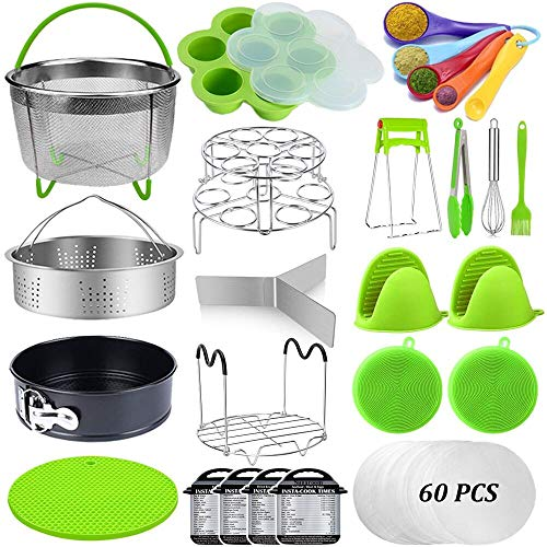 23 Pcs Pressure Cooker Accessories Set Compatible with Instant Pot Accessories 6 Qt 8 Quart, 2 Steamer Baskets, Springform Pan, Egg Rack, Egg Bites Mold, Steamer Rack Trivet, Parchment Papers & More