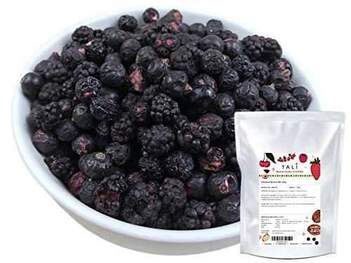 TALI Schwarze Beeren Mix 150 g - Gefriergetrocknete Brombeeren, Heidelbeeren, Schwarze Johannisbeeren