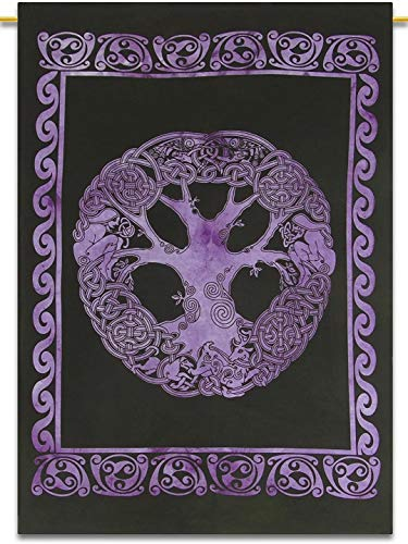 Bhagyashri Fashions Indian Mandala Celtic Tree of Life Purple Color Tapestry Poster Decorative Wall Hanging Art Collage Dorm Decor Hippie Bohemian 40x30 Inches
