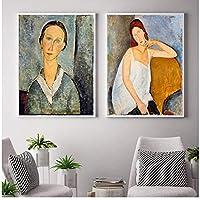 キャンバスギャラリーの有名なアート絵画壁アート写真アンティークポスターとプリントリビングルームの寝室の装飾-50x70cmx2フレームなし
