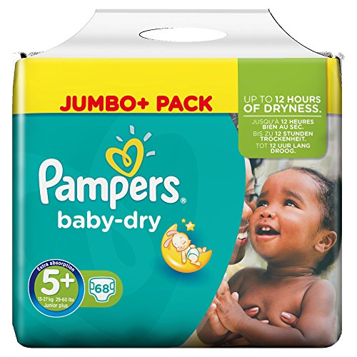 Pampers Baby-Dry Windeln Größe 5 Plus (Junior Plus) 12-17 kg, 1er Pack (1 x 68 Stück)