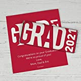 Personalized Graduation Chocolate Bar Wrappers - 'Grad' and Year (25 Wrappers) - Red