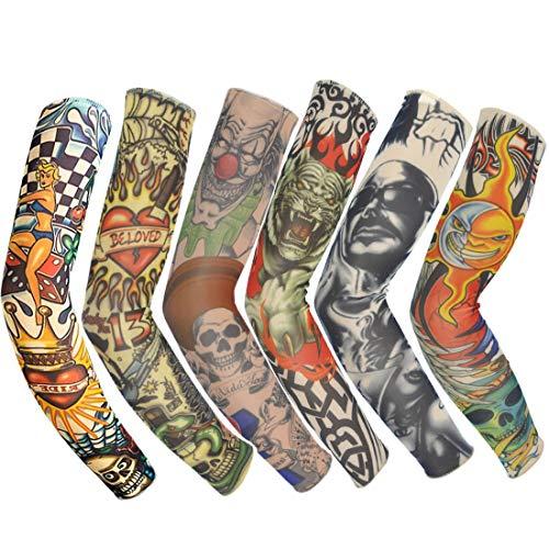 ANGTUO Novelty Stretch Nylon Fake Sleeves Tattoo Arm Kit (6 Sets)