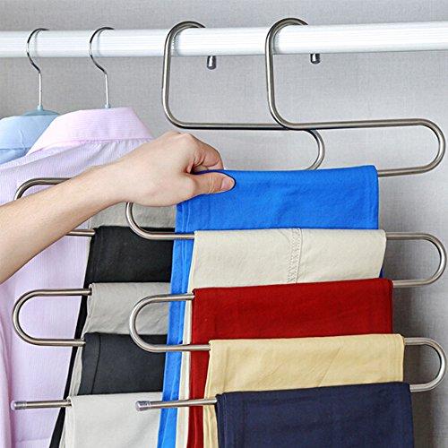 4 Stück kleiderbügel aus Edelstahl Platzsparend Hosenbügel für 5 Hosen