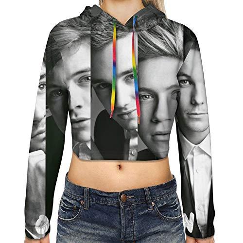 One Direction Hoodie Womens Crop Top Hooded Sweatshirt Cropped Sweater for Girls' Black