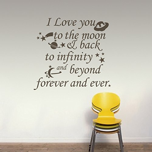 MairGwall Nursery Wall Decal Vinyl Nursery Quote Children Wall Sticker Baby Room Art Decor - I Love you to the moon & back to infinity and beyond Black