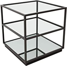 Zuo Modern 100754 Kure End Table, Distressed Black, Modern Mix of Clean Lines, Clear Two Glass Shelves, Mirrored Bottom Shelf, 150 lbs Weight Capacity, Dimensions 21.7W x 21.9H x 21.7L