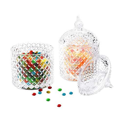 ComSaf Bonbonnière met deksel, suikerpot van glas klein, levensmiddelechte glazen container voor snacks